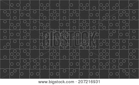 112 Black Puzzles Pieces Arranged in a Square - Vector Illustration. Jigsaw Puzzle Blank Template or Cutting Guidelines. Vector Background.