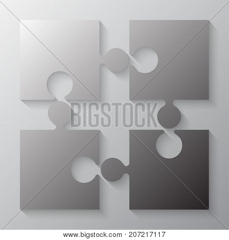 Four Grey Piece Jigsaw Puzzle Round Infographic Presentation. 4 Step Business Diagram. Four Section Compare Service Banner. Vector Illustration Template Shape.