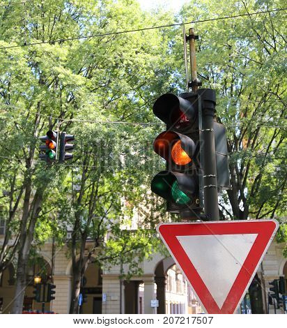 Italian Traffic Light With Two Colors Green And Orange Simultane