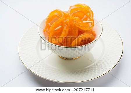 Stock photo of Jalebi or Jilbi or imarati, indian sweet food fried in pure ghee, selective focus