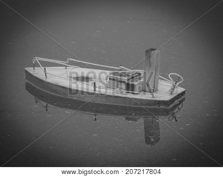 Toy ship rainy day model concept childhood