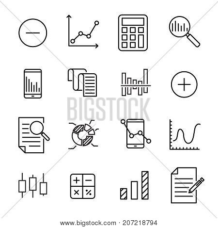 Simple collection of calculation related line icons. Thin line vector set of signs for infographic, logo, app development and website design. Premium symbols isolated on a white background.