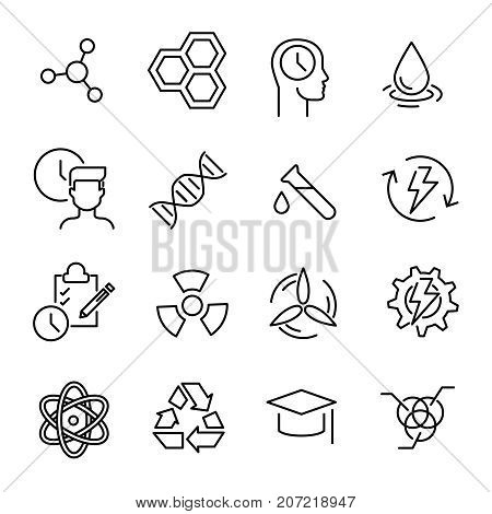 Simple collection of biotechnology related line icons. Thin line vector set of signs for infographic, logo, app development and website design. Premium symbols isolated on a white background.