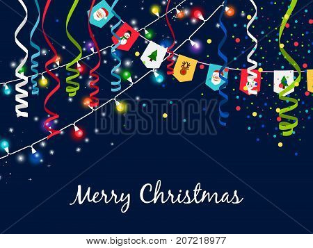 Christmas garland with serpentine and multi-colored lights on blue background. Bunting garlands and ribbons fun elements vector illustration
