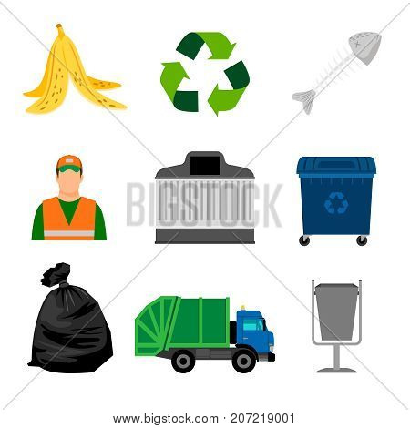 Garbage color icons. Dumpster and garbage truck, cleaner and garbage bag
