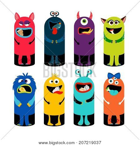 Garbage can set for children isolated on white background. Monsters trash cans for kids vector illustration