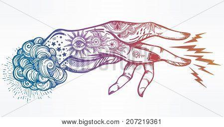 Flash magic. Inked human hand, sending magic hypnosis lightning beam drawing. Dotwork ink tattoo vintage design. Vector illustration isolated. Astrology, occult. alchemy, magic, nature symbol art.