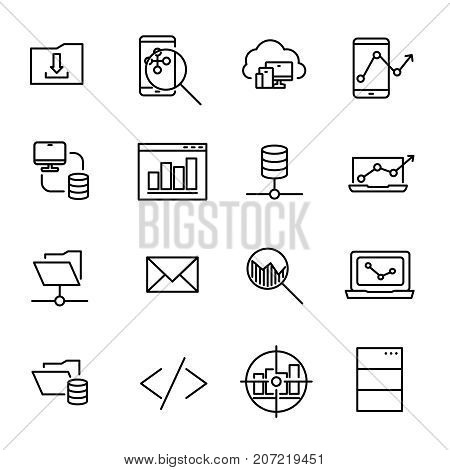 Simple collection of coding related line icons. Thin line vector set of signs for infographic, logo, app development and website design. Premium symbols isolated on a white background.