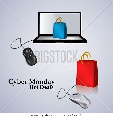 illustration of computer, mouse, and shopping bags with Cyber Monday Hot Deals text on the occasion of Cyber Monday