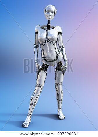3D rendering of a female android robot posing against a multicolored background.