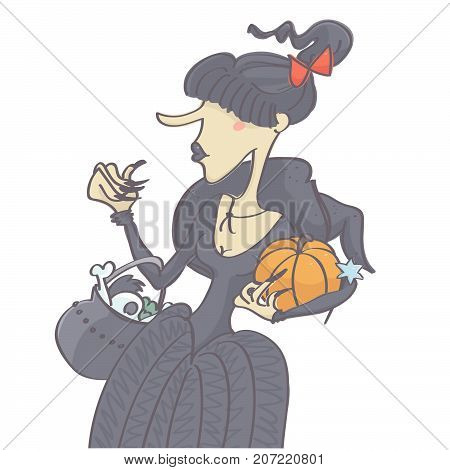 Woman with black hair and ponytail in witch Halloween costume, funny vector cartoon isolated on white background
