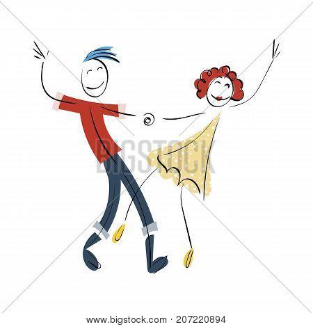 Doodle stickman illustration concept. Dancing couple. Vector image.
