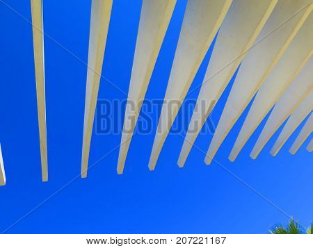 Promenade with a pergola at Muelle Uno in the port of Malaga Andalusia Spain