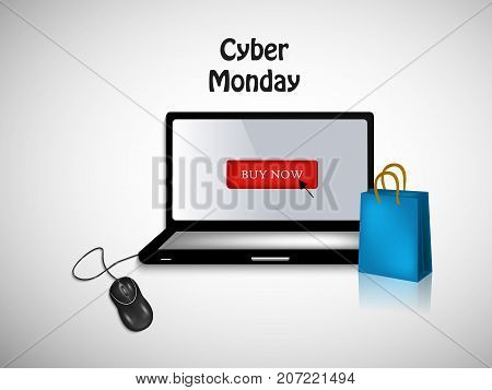 illustration of computer, mouse and shopping bag with Cyber Monday text on the occasion of Cyber Monday