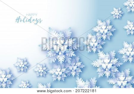 Blue Merry Christmas Greetings card. White Paper cut snow flake. Happy New Year Decoration. Winter snowflakes background. Seasonal holidays. Snowfall. Text. Blue background. Vector illustration.