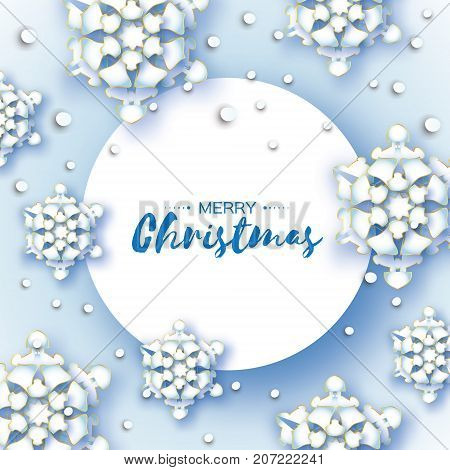 Origami Christmas Greetings card. Paper cut snow flake. Happy New Year. Winter snowflakes background. Circle frame. Space for text. Vector illustration.
