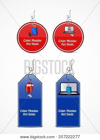 illustration of tags in computer, mouse, hat, gift pack and shopping bag background with Cyber Monday Hot Deals text on the occasion of Cyber Monday