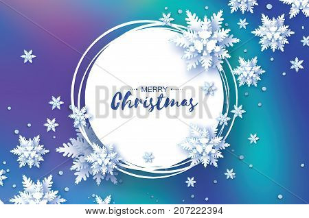 Origami Christmas Greetings card. Paper cut snow flake. Happy New Year. Winter snowflakes background. Circle frame. Space for text. mesh blue background. Vector illustration.