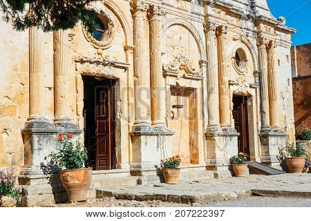 View On The Basilica Of Arkadi Monastery On Crete, Greece