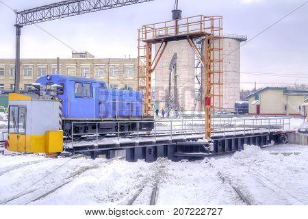 MINSK BELARUS - January 18.2017: Turntable in a railway locomotive depot