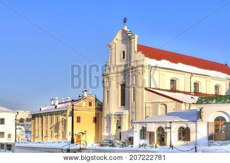 MINSK BELARUS - January 18.2017: The Church of Saint Joseph and a restaurant on Herzen Street in the city center