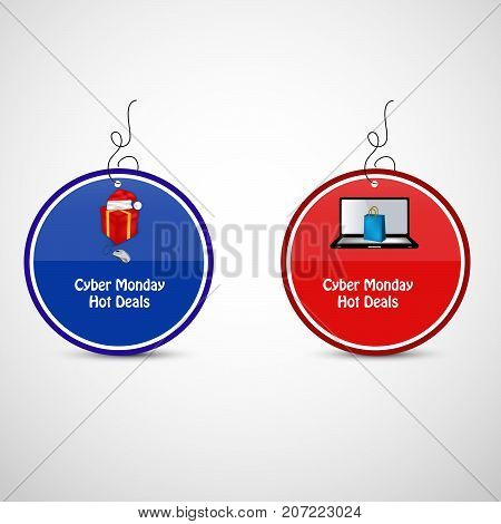illustration of sale tags in computer, mouse, hat, gift pack and shopping bag background with Cyber Monday Hot Deals text on the occasion of Cyber Monday
