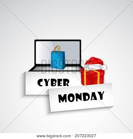 illustration of computer, hat, gift pack and shopping bag with Cyber Monday text on the occasion of Cyber Monday