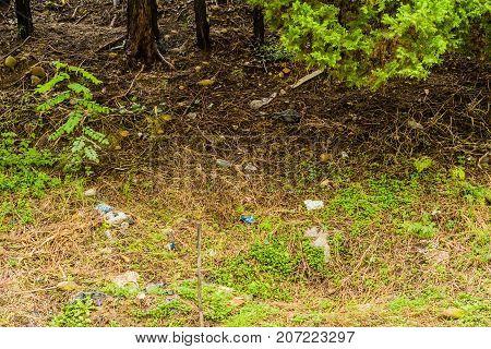 Trash And Debris On Ground
