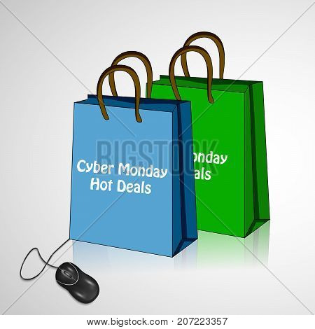 illustration of mouse and shopping bags with Cyber Monday Hot Deals text on the occasion of Cyber Monday