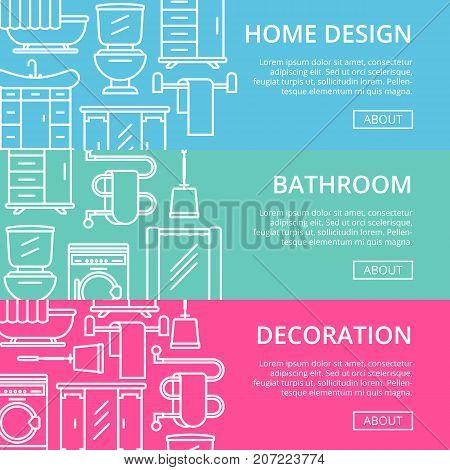 Bathroom decoration poster set in linear style. Home interior renovation, modern apartment decoration banner. Washing machine, shower cabin, toilet, bathtub, towel dryer, washbasin vector illustration