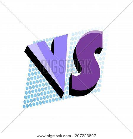 Versus logo in pop art style. Fight opposition symbol, VS bright colorful element vector illustration