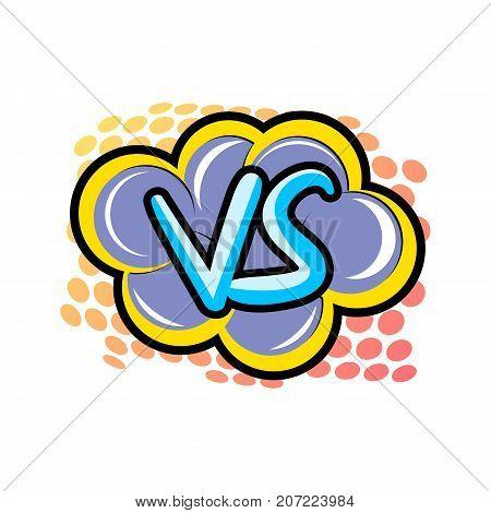 Confrontation versus comic speech bubble. Fight opposition symbol, VS bright colorful element vector illustration
