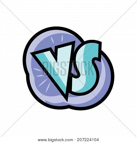 VS comic speech bubble in cartoon style. Fight opposition symbol, versus bright colorful element vector illustration