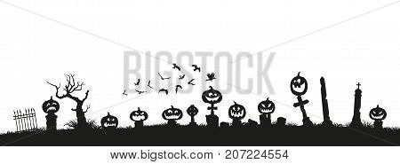 Holiday Halloween. Black silhouettes of pumpkins on the cemetery on white background. Graveyard and broken trees. Vector illustration