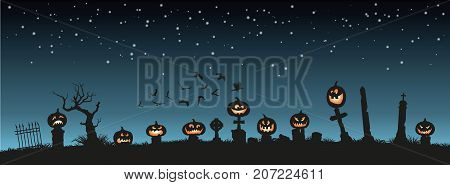 Holiday Halloween. Black silhouettes of pumpkins on the cemetery on night sky background. Graveyard and broken trees. Vector illustration