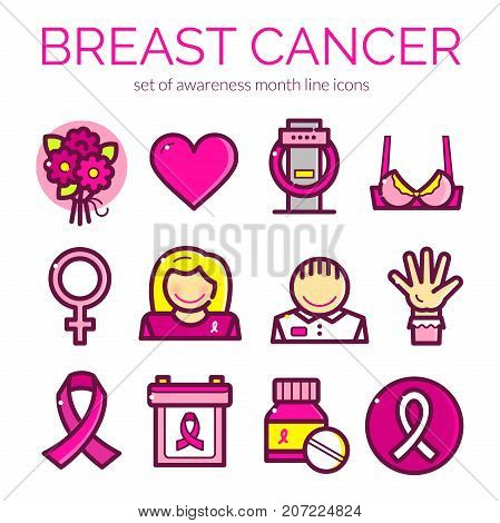 Breast Cancer Awareness Month icons set, line art vector illustration