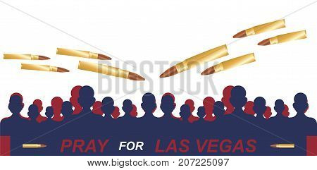 Las Vegas Shooting. Concept Of Terrorism And The Memory Of The Dead. Silhouette Of People With Bulle
