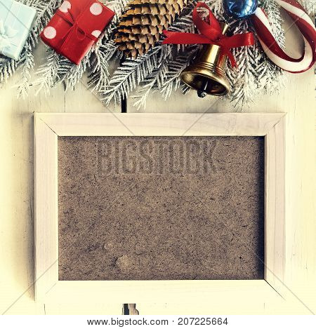 Christmas Background And White Frame. Christmas Decorations