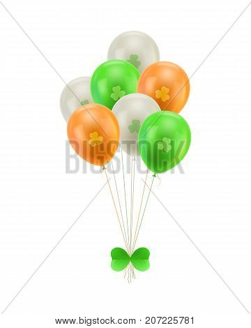 Bundle balloons green bow isolated. A bundle of balloons with a greeen bow isolated on the day of st. patrick. Bunch of balls in the form of a vector illustration