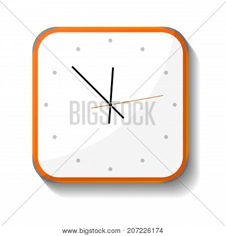 Classic office wall clock icon. Analog chronometer isolated vector illustration in flat style.
