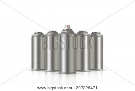 Paint Aerosol Spray Metal 3D Bottle Can, Graffiti, Deodorant, Household Chemicals, Poison. Front View. Illustration Isolated On White Background. Mock Up Template For Your Design. Vector EPS10 poster
