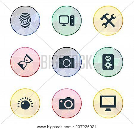 Elements Amplifier, Monitor, Personal Computer And Other Synonyms Settings, Tuning And Clock.  Vector Illustration Set Of Simple Gadget Icons.