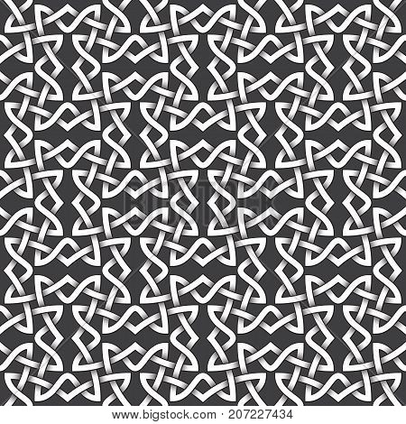 Abstract repeatable pattern background of white twisted bands with black strokes. Swatch of shapes plexus in links form. Seamless pattern in vintage style.