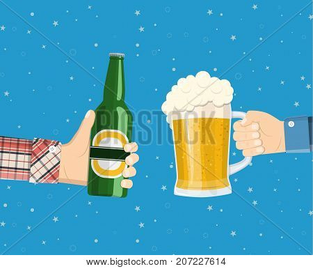 Beer party. Hands holding beer glass and beer bottle. Concept of cheering people party celebration