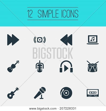 Elements Instrument, Speech, Listen And Other Synonyms Mike, Loudspeaker And Speech.  Vector Illustration Set Of Simple Sound Icons.