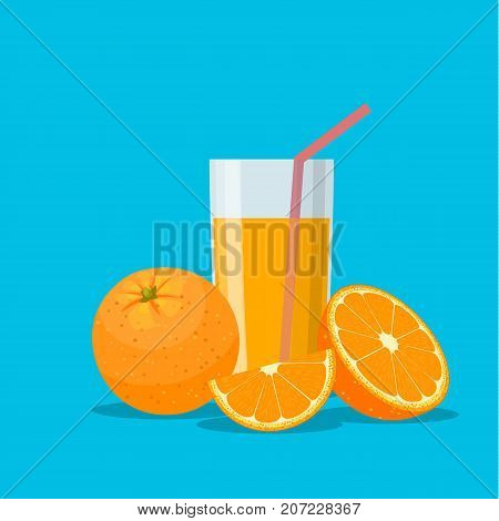 Orange juice in a glass. Vitamins for health. Vector illustration in flat style