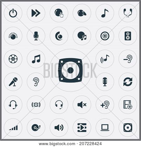 Elements Earmuff, Speaker, Music And Other Synonyms Bass, Laptop And Microphone.  Vector Illustration Set Of Simple Play Icons.