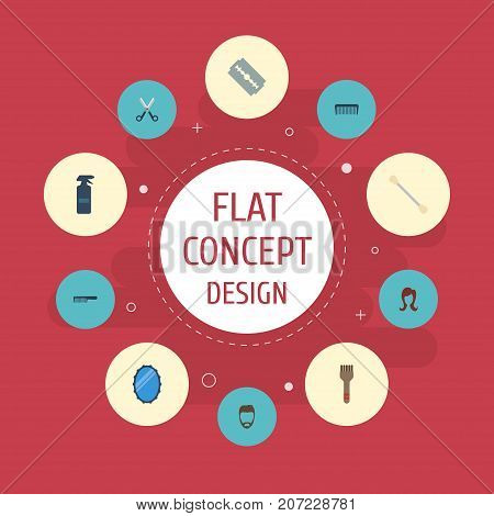 Flat Icons Hairspray, Razor, Looking-Glass And Other Vector Elements