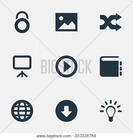 Elements Picture, Whiteboard, Play And Other Synonyms Mix, World And Privacy.  Vector Illustration Set Of Simple Web Icons.