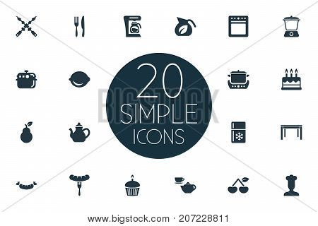 Elements Bbq, Wooden Desk, Muffin And Other Synonyms Fruits, Stew-Pot And Set.  Vector Illustration Set Of Simple Gastronomy Icons.